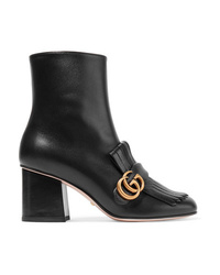 Gucci Marmont Fringed Logo Embellished Leather Ankle Boots