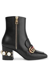 Gucci Marmont Logo And Faux Pearl Embellished Leather Ankle Boots Black