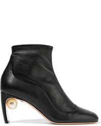 Nicholas Kirkwood Mva Embellished Leather Ankle Boots Black