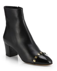Salvatore Ferragamo Nao Chain Trimmed Leather Ankle Boots