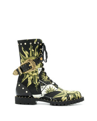 Fausto Puglisi Printed Denim High Ankle Boots