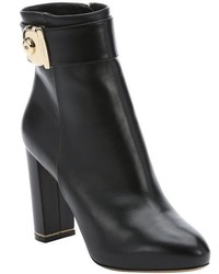 Salvatore Ferragamo Black Leather Fiamma Keyhole Detail Side Zip Ankle Booties