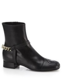 Gucci Soho Leather Chain Detail Ankle Boots