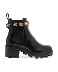 Gucci Trip Crystal Embellished Leather Chelsea Boots