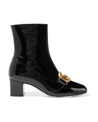 Gucci Victoire Logo Embellished Patent Leather Ankle Boots