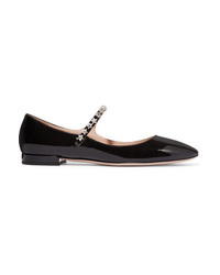 Miu Miu Crystal Embellished Patent Leather Mary Jane Ballet Flats