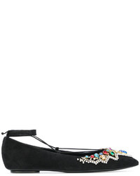 Casadei Embellished Lace Up Ballerinas