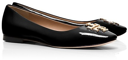858c3b48b6d1 Raleigh Ballet Flats. Black Embellished Leather Ballerina Shoes by Tory  Burch