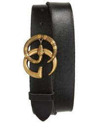 Black Embellished Leather Belt