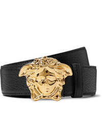 Versace 4cm Black Full Grain Leather Belt