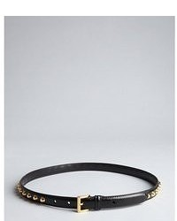 Prada Black Leather Studded Skinny Belt