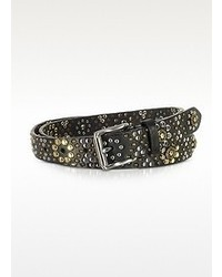 Forzieri Black Studded Leather Belt