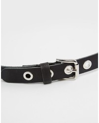 Asos Collection Leather Eyelet Double Buckle Waist And Hip Belt