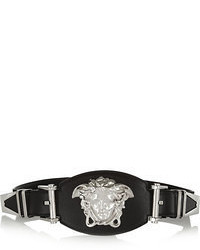 Versace Embellished Leather And Grosgrain Waist Belt