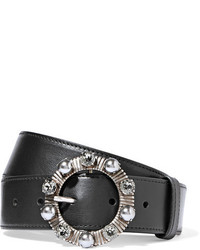 Miu Miu Embellished Leather Belt Black
