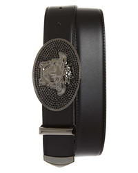 Versace Embellished Medusa Leather Belt