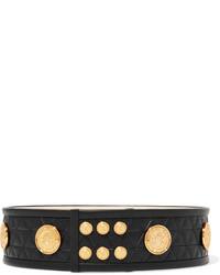 Balmain Embellished Quilted Leather Belt Black