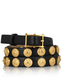 Valentino Etno Embellished Textured Leather Belt