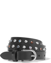 Isabel Marant Kerria Embellished Leather Belt Black