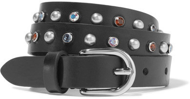 Isabel Marant Kerria Embellished Leather Belt Black