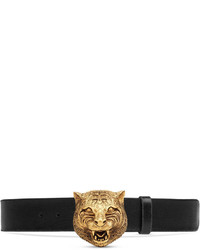 Gucci Leather Belt With Feline Buckle
