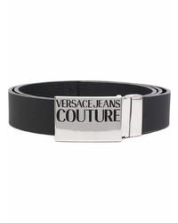 VERSACE JEANS COUTURE Logo Plaque Leather Belt