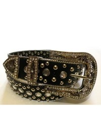 Overstock Black Rhinestone Embellished Leather Belt