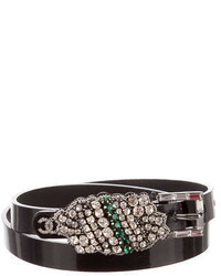 Chanel Patent Leather Crystal Embellished Belt