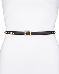 Valentino Rockstud Platino Studded Skinny Leather Belt Black