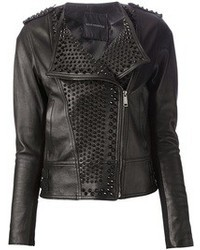Black Embellished Leather Biker Jacket