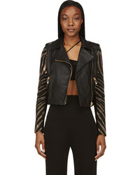 Versus Black Leather Suede Embellished Sleeve Biker Jacket