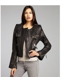 Isabel Marant Black Studded Leather And Silk Motorcycle Jacket
