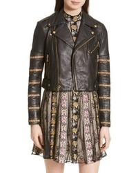 Alice + Olivia Cody Embellished Leather Moto Jacket