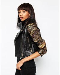 Asos Collection Premium Leather Biker With Coin Embellisht