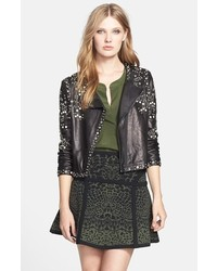 Diane von Furstenberg Arizone Embellished Leather Jacket