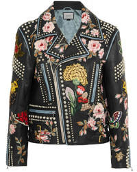 Gucci Embellished Leather Biker Jacket Black