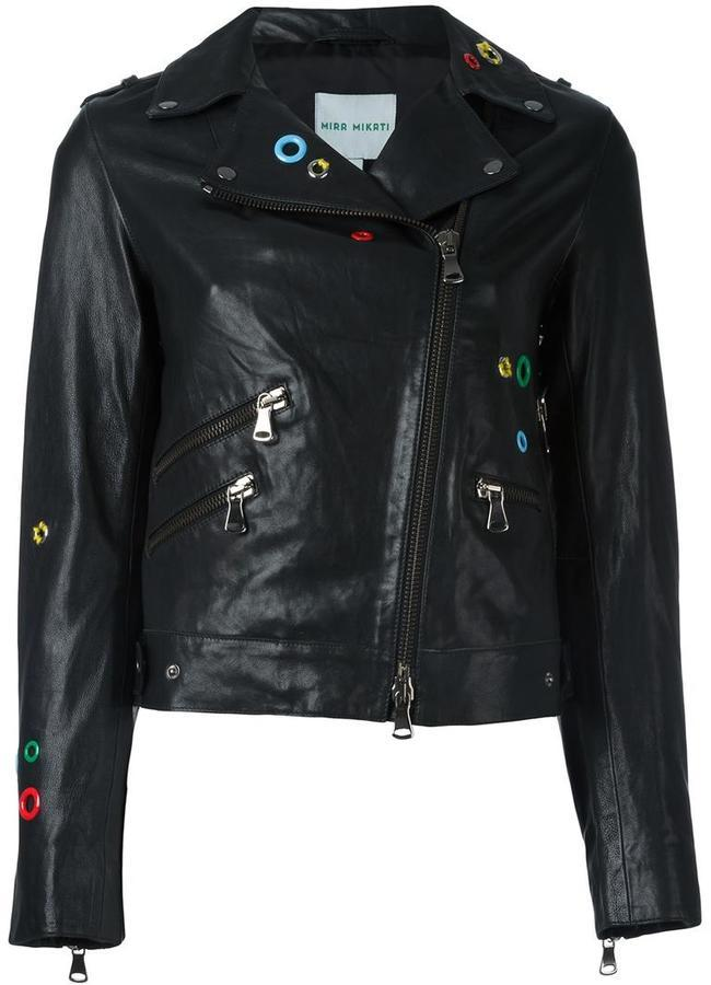 Mira Mikati Eyelet Embellished Biker Jacket