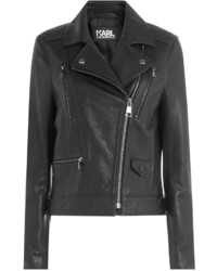 Leather biker jacket with embossed motif medium 837432
