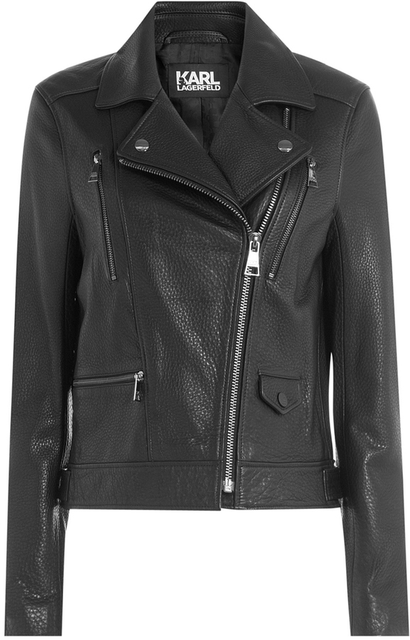 Karl Lagerfeld Leather Biker Jacket With Embossed Motif