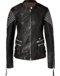 True Religion Leather Biker Studs Jacket In Black
