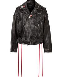Amiri Oversized Printed Embellished Leather Jacket
