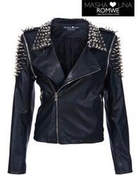 Riveted Black Fake Leather Jacket