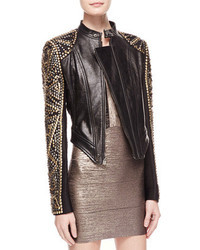 Herve Leger Studded Asymmetric Leather Jacket