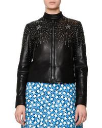 Valentino Embellished Leather Bomber Jacket Black