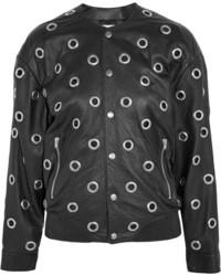 Saint Laurent Eyelet Embellished Leather Bomber Jacket Black