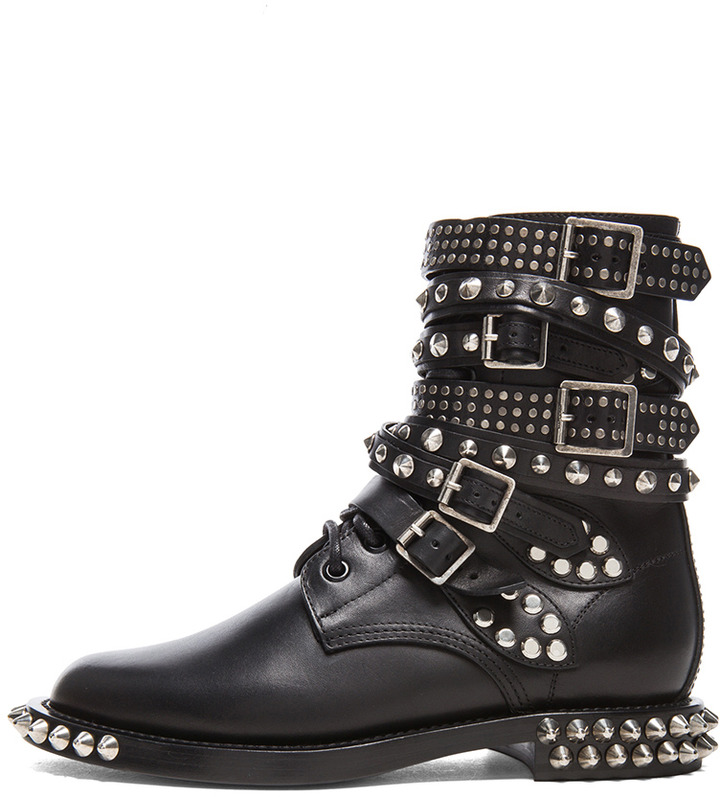 ... Saint Laurent Rangers Double Studded Leather Combat Boots ... ff6274348787