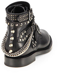 e3b613ae9c8 ... Saint Laurent Rangers Embellished Leather Lace Up Ankle Boots ...