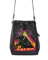 Embellished grained leather bucket bag medium 230453