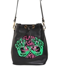 Embellished grained leather bucket bag medium 230454