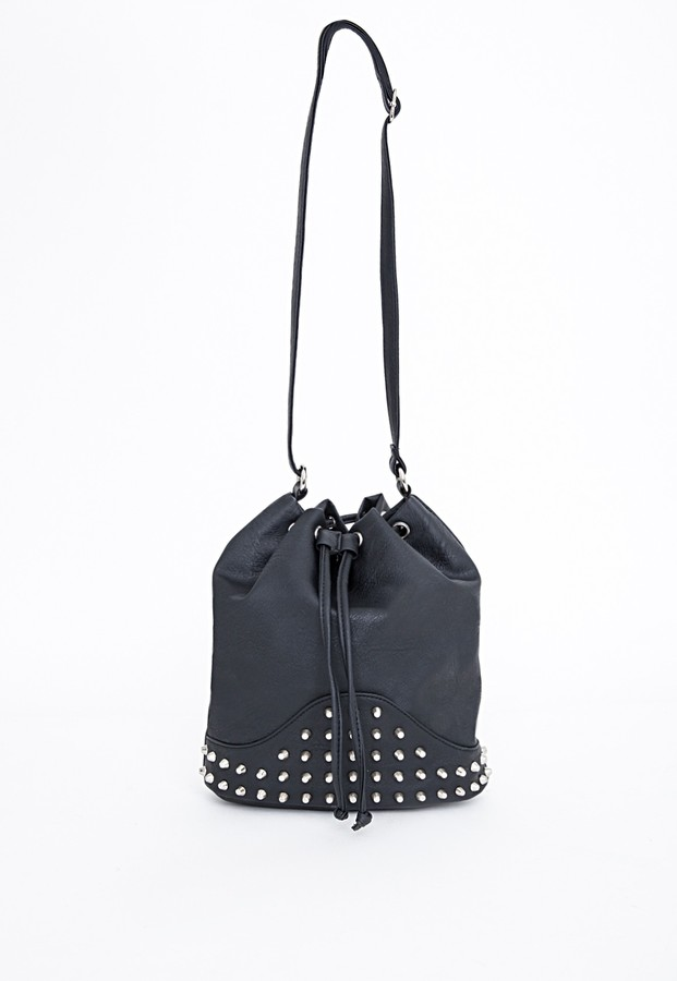 Missguided Samanta Stud Detail Bucket Drawstring Bag Black | Where ...